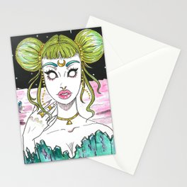 Alien Space Girl Stationery Cards