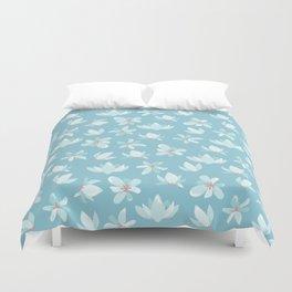 Elegant pastel blue white coral modern floral illustration Duvet Cover