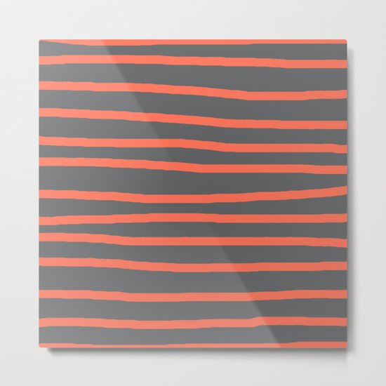 Simply Drawn Stripes Deep Coral on Storm Gray Metal Print