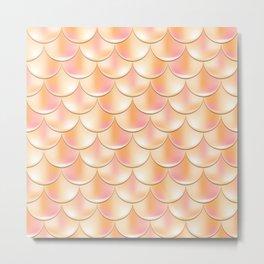 Golden Mermaid Pattern, Holographic Fish Scale Print Metal Print