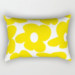 Large Yellow Retro Flowers on White Background #decor #society6 #buyart Rectangular Pillow