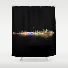 Toronto Skyline At Night From Centre Island Reflection Shower Curtain