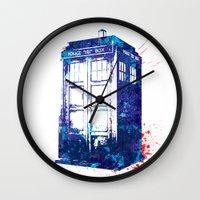 tardis Wall Clocks featuring Tardis by lauramaahs
