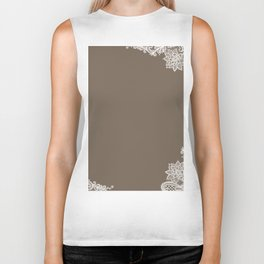 White Lace Mocha Decoration Vintage Lace Brown Retro Lace Henna Print Biker Tank