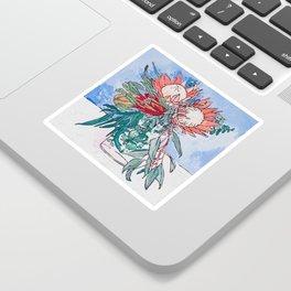 Painterly Vase of Proteas, Wattles, Banksias and Eucayptus on Blue Sticker