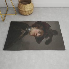 'Tronie' of a man with a feathered beret Rug