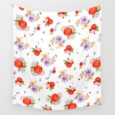RED FLORAL Wall Tapestry