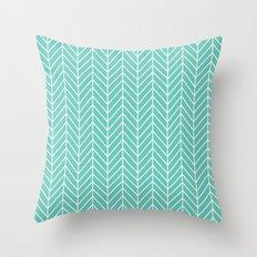 Turquoise Herringbone Pattern Throw Pillow