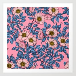 Dog rose pattern  Art Print