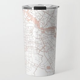 Amsterdam White on Rosegold Street Map Travel Mug