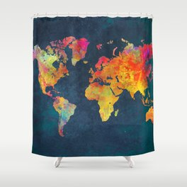 World Map blue #world #map Shower Curtain