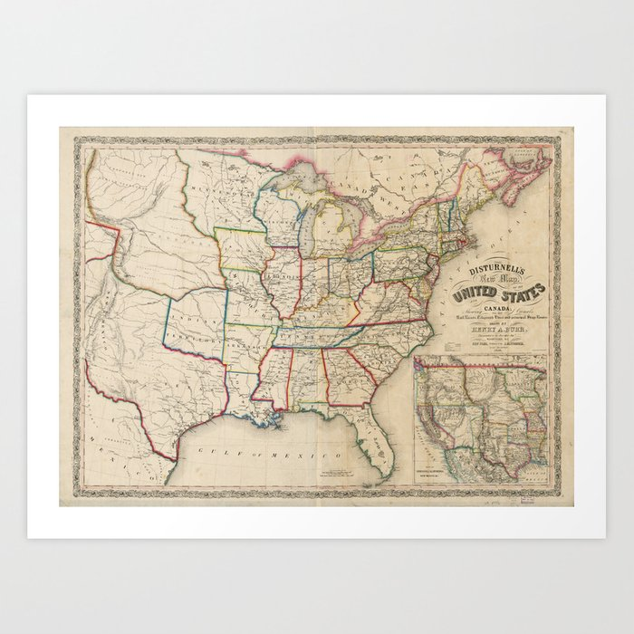 Disturnell S Map Of The United States 1850 Art Print By Thearts
