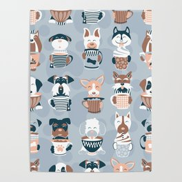 Doggie Coffee and Tea Time I // blue grey Poster