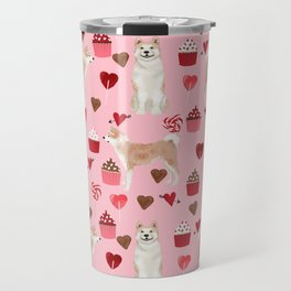 Akita valentines day cupcakes dog breed hearts pet portrait akitas pet friendly Travel Mug