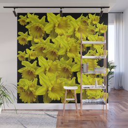 YELLOW SPRING KING ALFRED DAFFODILS ON BLACK Wall Mural