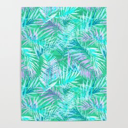Green palm leafs Poster