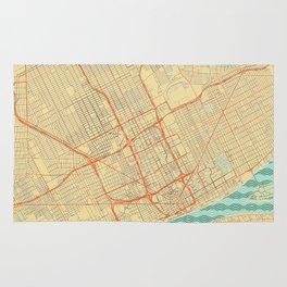 Detroit Map Retro Rug