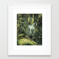 pixies Framed Art Prints featuring Unicorn & Pixies by Mike Lowe