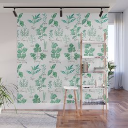 green herbs family watercolor Wall Mural