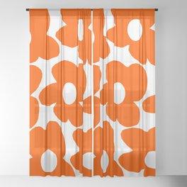 Orange Retro Flowers White Background #decor #society6 #buyart Sheer Curtain