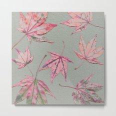 Japanese maple leaves - apricot on light khaki green Metal Print