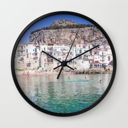 Azure water in Cefalu Wall Clock