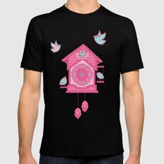 Cuckoo Time pink Mens Fitted Tee Black MEDIUM