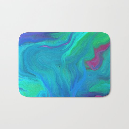 AGATE BLUE ABSTRACT OIL PAINTING Bath Mat