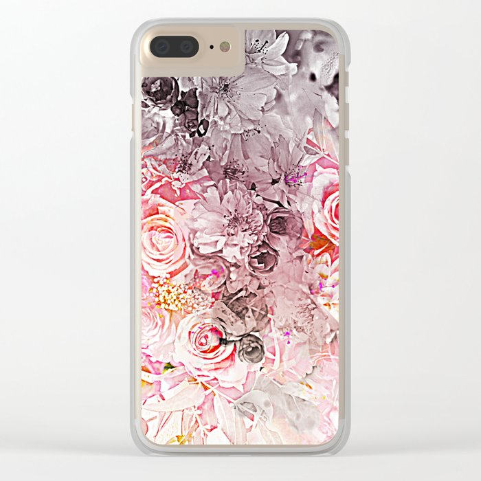 Floral in pinks and taupe Clear iPhone Case