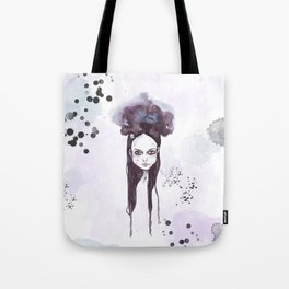 Watercolors Wednesday - Dark thoughts & messy hair Tote Bag