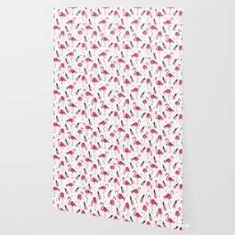 Flamingo and Pineapple Tropical Pattern Wallpaper