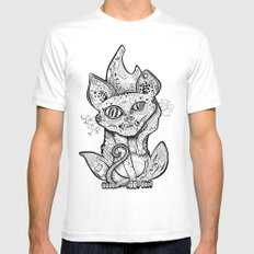 MAD BALD CAT White MEDIUM Mens Fitted Tee