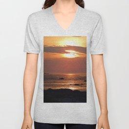 Sunset Seascape with Ship Unisex V-Neck