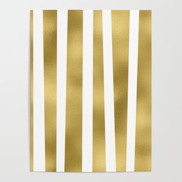 Gold unequal stripes on clear white - vertical pattern Poster