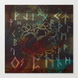 Tree of life  -Yggdrasil - and runes Canvas Print