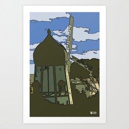 Windmill Comicked Art Print