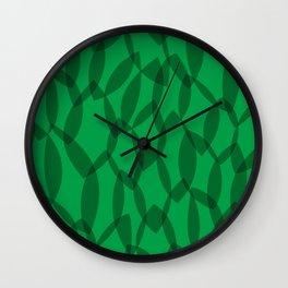 Overlapping Leaves - Dark Green Wall Clock