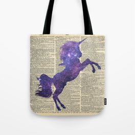 Glaxy Unicorn on Vintage Dictionary Page Tote Bag