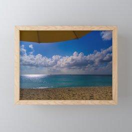 Seaside Under Umbrellas Framed Mini Art Print