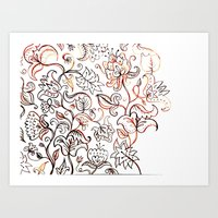Floral Jacquard - watercolor painting Art Print
