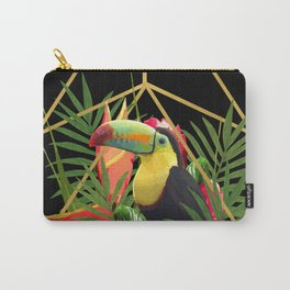 Bold Golden Geometric Tropical Bouquet With Toucan Carry-All Pouch