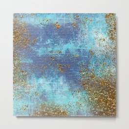 Gold Faux Glitter and Blue Mermaid Sea Foam Metal Print