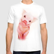 Mr. Piglet White Mens Fitted Tee MEDIUM