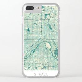 St Paul Map Blue Vintage Clear iPhone Case