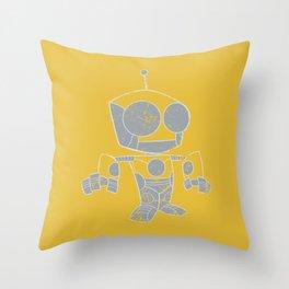 Robot Distressed Throw Pillow