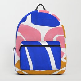 Colorful Minimalist Mid Century Modern Shapes Pink Ultramarine Blue Yellow Ochre Tribal Maze Pattern Backpack