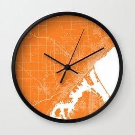 Duluth map orange Wall Clock