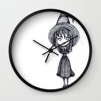 witch Wall Clocks featuring Witch by Margret Stewart