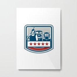 Power Washer Worker Truck Train Crest Retro Metal Print