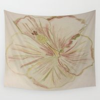 hibiscus Wall Tapestries featuring Hibiscus by bluegreybooth